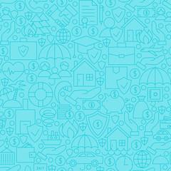 Thin Blue Insurance Line Seamless Pattern