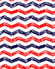 Blue red and white grunge chevron geometric seamless pattern, vector