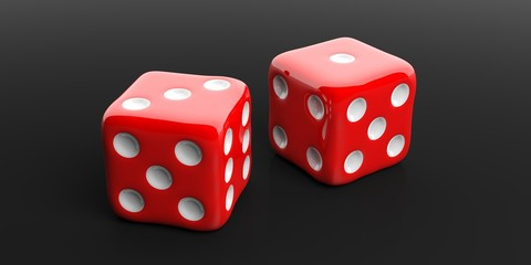 Two red dice, black background. 3d illustration