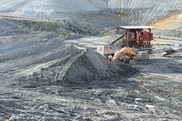 Chalk quarry with stone crusher