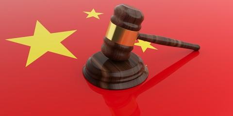 Gavel on an China flag. 3d illustration