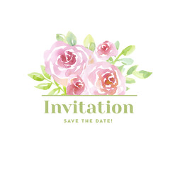 pale color tender rose flowers. card template, watercolor hand d