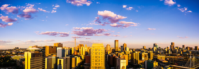 Johannesburg city looking eastwards, in the afternoon sunshine.