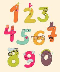 Смешные цифры в виде человечков. Картинка в детском стиле.