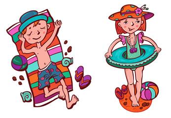 персонажи: мальчик и девочка на пляже.
