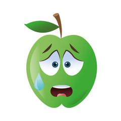 flat design worried apple cartoon icon vector illustration