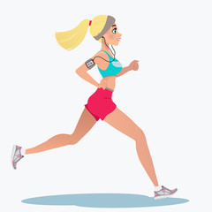 Fitness running girl with mp3 player. A cute running girl in cartoon style. Vector illustration isolated on white background. Design for motivational poster, article about fitness.