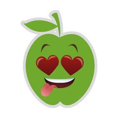 flat design heart eyes apple cartoon icon vector illustration