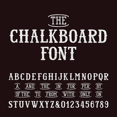 Chalk board hand drawn font and catchwords. Vector alphabet - type letters and numbers.