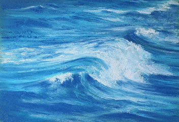 blue sea wave soft pastel drawing