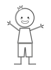 flat design happy boy with arms open icon vector illustration stick figure