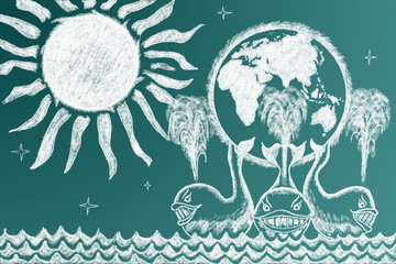 Education funny illustration. Earth on three whales