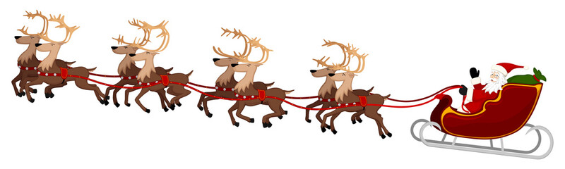 Vector illustration of Santa Claus in flight with his eight reindeer.