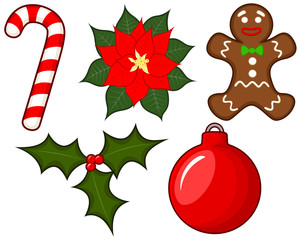 Vector illustration of a collection of five Christmas-themed items.