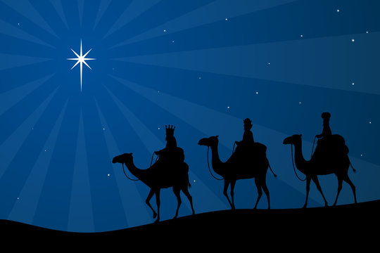 Vector illustration of the biblical three wise men heading toward the Star of Bethlehem.