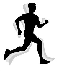 Athletic man silhouette running