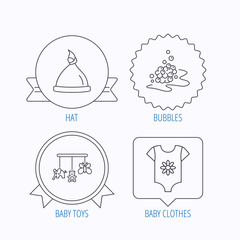 Baby clothes, bath bubbles and hat icons.