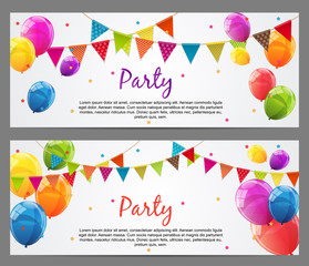 Party Background Baner with Flags and Balloons Vector Illustrati