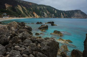Picturesque Petani beach on the island of Kefalonia, Greece