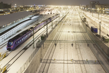 Sweden, Skane, Malmo, Railroad station at night