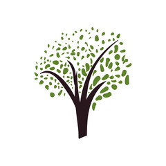 Nature concept represented by green tree icon. Isolated and flat illustration