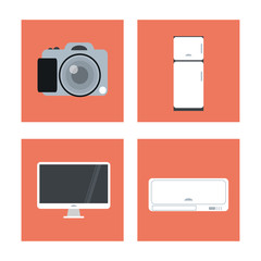 Technology and Internet concept represented by icon set over frames. Colorfull and flat illustration.