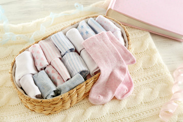 Clean baby linen on knitted plaid
