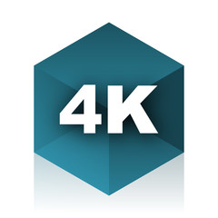 4k blue cube icon, modern design web element
