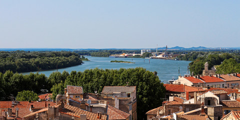 view above the old town Arles (southern France) with Rhône river in background