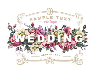 Vector wedding label with a frame composed of detailed flowers