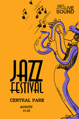 Musical Poster With Saxophone Player.