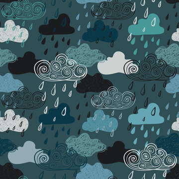 Colorful Seamless Pattern Of Rain Clouds.