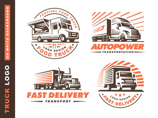 Logo set with truck and trailer