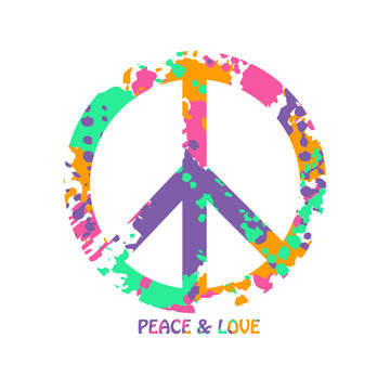 Colorful Peace And Love Hippie Symbol.