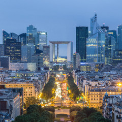 Wall Mural - View of La Defence Paris business district from Place Charles De Gaulle at dusk.