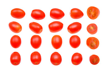 Grape or cherry tomatoes isolated on white background.