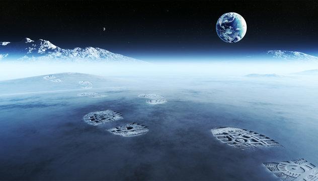 Footprints on alien planet