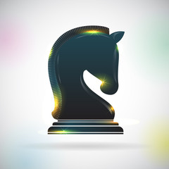 Vector chess black horse shape. Icon with mammal silhouette, play equipment