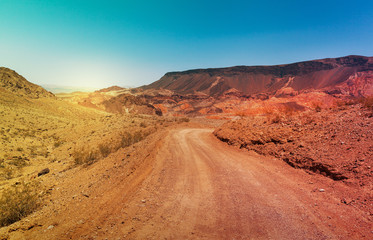 The road in desert in summer time, Southern Nevada, USA