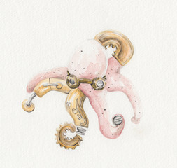 Steampunk Octopus Watercolor