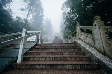 The steps to the Tian Tan Buddha (The Big Buddha) in fog, at Ngo