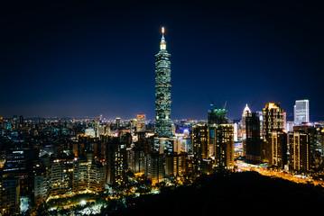 View of Taipei 101 and the Taipei skyline at night, from Elephan