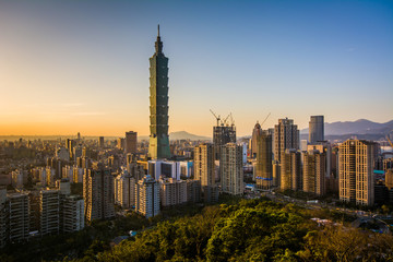 View of Taipei 101 and the Taipei skyline at sunset, from Elepha