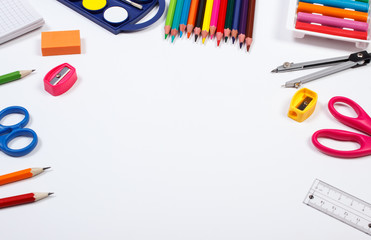 School accessories on white background, back to school concept, copy space for text