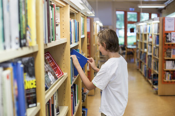 Boy choosing book in library