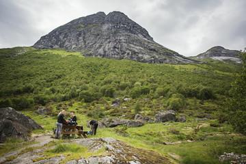 Women hiking in mountain
