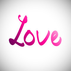 Decorative love text with heart. Vector illustration, eps10