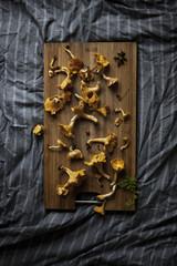 Chanterelles on cutting board