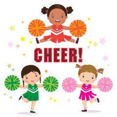 Vector illustration of cheerleader with Pom Poms