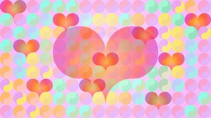 Yin Yang hearts flat pastels